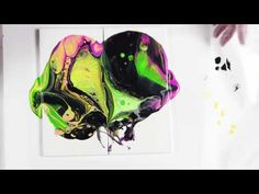 Colour Play Day 3 by, Leslie Ohnstad-Paint Pouring with Primary Elements and Acrylic paint - YouTube