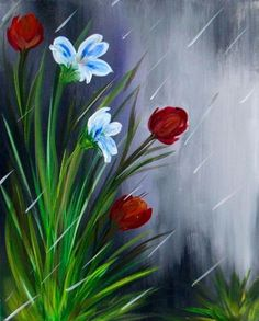 flowers in the rain.  An easy painting for friends to paint together.