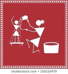 nisha_images's Portfolio on Shutterstock Doodle Art Drawing, Dark Art Drawings, Art Drawings Sketches Simple, Worli Painting, Fabric Painting, African Art Paintings, Creative Arts And Crafts, Indian Folk Art, Mini Canvas Art