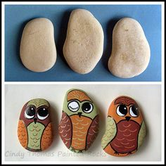 Before & After Painted Rocks: Things with Wings - Owls
