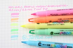 Uni-ball Propus Window Double-Sided Highlighter Pen - 4.0 mm / 0.6 mm Twin Tip - 5 Color Set - UNI PUS-102T5C