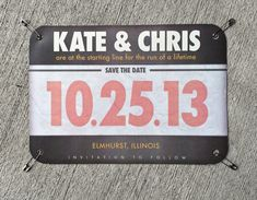 Your Story Invites: Kate & Chris Save the Date - Runner's race bib complete with safety pins!!