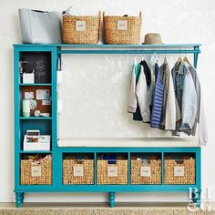 Storebought storage units fix a messy entryway.