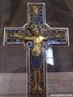 Crucifijo de Terrazas, de bronce dorado y esmaltes