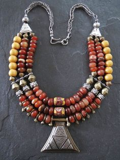 Three Strand Stunning Antique Carnelian and African Trade Bead Necklace Ethnic Jewelry, Chunky Jewelry, African Jewelry, Bohemian Jewelry, Beaded Jewelry, Jewelry Necklaces, Handmade Jewelry, Beaded Necklace, Unique Jewelry