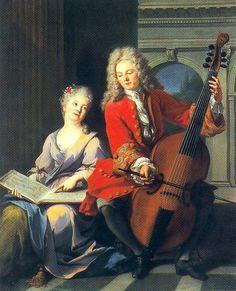 Jean-Marc Nattier, 1685-1766, ,French Rococo Era Painter, The Music Lesson, 1710, Oil on canvas