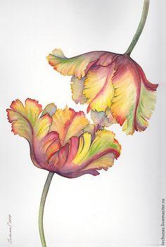 Купить или заказать Акварель Прикосновение в интернет-магазине на Ярмарке Мастеров. Грустят тюльпаны, ждут улыбку солнца... Прикосновение. Абсолютная нежность в одном мгновении.... ---------------------------------------------------------------- Рисунок выполнен на хлопковой бумаге Canson плотностью 300 г/м2. Картину можно расположить как вертикально, так и горизонтально. На заказ по вашему желанию картина может быть выполнена …