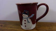 Sonoma life & style Snowman Christmas Mug XL Coffee Cup Burgundy White Stoneware #Sonoma #Christmas