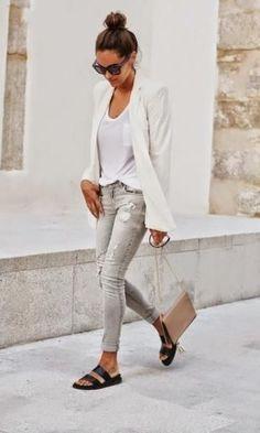 Look: Casual Fashion Birken Sandals - Moda it Mode Outfits, Casual Outfits, Fashion Outfits, Womens Fashion, Fashion Trends, Office Outfits, Office Attire, Summer Outfits, Birkenstock Outfit