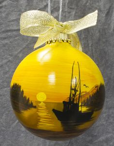 hand-painted glass christmas ornament (alaskan artist)