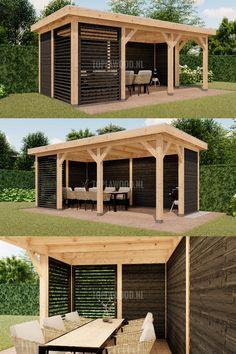 Pergola Carport, Backyard Gazebo, Small Backyard Patio, Garden Gazebo, Backyard Patio Designs, Outdoor Pergola, Outdoor Rooms, Backyard Landscaping, Back Garden Design