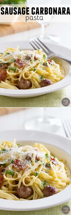 ... pasta is combined with sausage and bacon in this indulgent Sausage