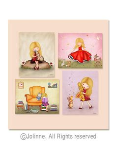 Girls room art animals art kids room decor children by jolinne, $44.00