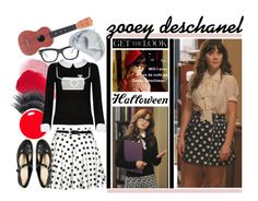 """Halloween Get The Look: Zooey Deschanel"" by crystalg ❤ liked on Polyvore featuring Zooey, NARS Cosmetics, Anna Sui, MAKE UP FOR EVER, Alice + Olivia, Boohoo, CÉLINE and ASOS"