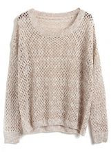 Apricot Batwing Long Sleeve Hollow Kint Sweater