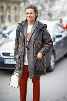Urban camo on Garance Dore in Paris #streetstyle