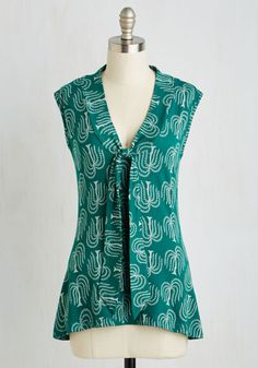 Housewarming Your Home Top in Willow. Your new abode feels all the more welcoming when you wear the soothing teal tone of this top by California-based Effies Heart! #green #modcloth