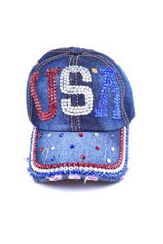 c2f5bd163f1 Items similar to USA American Flag Rhinestone Cap  Hat on Etsy