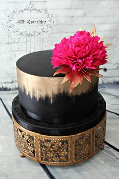 Dramatic Peony - Cake by Little Apple Cakes