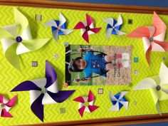 Decorated locker with pinwheels and stickers, birthday  locker, middle school, decorate a locker for birthday