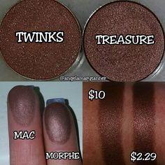 FROM angelamarytanner ON INSTAGRAM MAC 'TWINKS' ($10) vs MORPHE 'TREASURE' ($2.29)