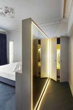 Bedroom: PARIS SOLFÉRINO: The Latest from Sara Lavoine. Very clever with the backlit mirror.