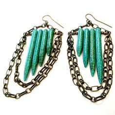 Turquoise and Brass Chandelier Earrings – here's an alternative way to use a Cleopatra bead set.