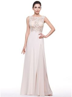 A-Line/Princess Scoop Neck Sweep Train Chiffon Lace Evening Dress