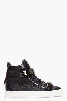 Giuseppe Zanotti Black And Navy Croc-embossed Leather London High-tops for men | SSENSE