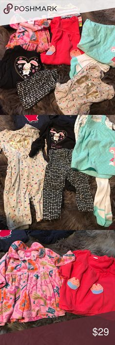 Girls 6-12 month Clothing Bundle All good condition. A 6-12 month gap bodysuit, 9-12 month koala baby Top and pants, carters fleece dress with shirt and tights 12 months(never worn), Gymboree sweater dress with 2 cupcakes on skirt 6-12 months, gap striped dress 6-12 months, and star koala baby dress 9-12 months, and a velour pink patterned 12 month dress. All super cute and good condition! Dresses