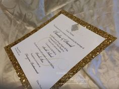 Glitter wedding invitation in gold foil metallic paper or custom made with silver, pink, purple or your choice Perfect for shine and shimmer weddings or events and decorated with a diamante brooch or cluster