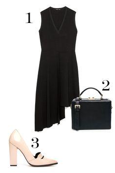 1. Zara Dress with Overskirt, $39.90; zara.com. 2. ASOS Structured Box Handheld Bag, $73; asos.com. 3. ASOS Policy Pointed High Heels, $81; asos.com.   - MarieClaire.com