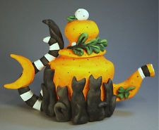 Black Cat Pumpkin Tea Pot
