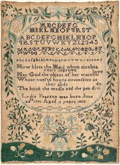 American sampler, Massachusetts, 1802.