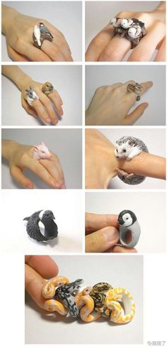 Polymer Clay Snake Ring Hedge Hog Ring