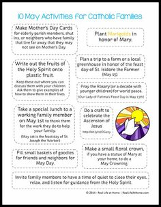 10 May Activities for Catholic Families Free Printable