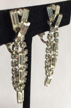 Vintage Art Deco Clear Rhinestone Dangle Earrings, Brilliant Channel Set Rhinestone Clipons, 1 3/4 Inches Long, Delicate, Dainty Clipons