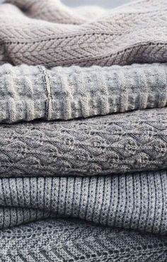 Gray sweaters knits blankets