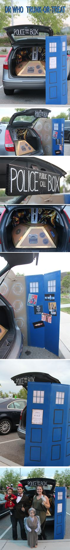 Dr. Who Trunk-or-Treat with TARDIS door and console. Also, the 11th Doctor, River Song, a Weeping Angel, and a Dalek.