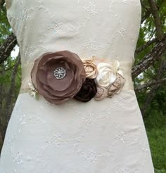 SALE...Julie- Bridal Sash Wedding Sash in Taupe, Cream, Beige, Brown and Mocha with Vintage Lace, Pearl and Rhinestones.. sash belt...