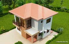 Elisa – Four Bedroom Compact Two Storey House Design | Pinoy ePlans 2 Story House Design, Flat Roof House Designs, Narrow House Designs, Modern Small House Design, Modern Bungalow House, Bungalow House Plans, House Construction Plan, Two Storey House, Ground Floor Plan
