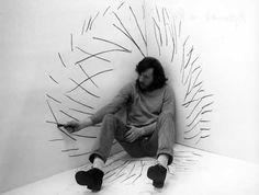 Zbigniew Warpechowski Rysunek w kącie (Drawing in the Corner), 1971 Op Art, Tableaux Vivants, Ligne Claire, Art Furniture, Art Plastique, Oeuvre D'art, Artist At Work, Installation Art, Zine