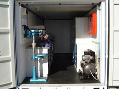 Overall view of a shipping container converted into a workshop, providing portable space for an engineering firm. http://www.containercare.co.uk/blog/post.php?s=2012-11-13-shipping-container-workshops