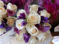 White roses,sweet peas and Cala lilies