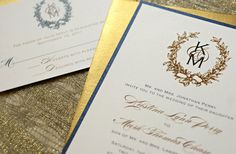 wedding invitations navy and gold | gilded wedding invitations Etsy weddings stationery gold navy ivory ...