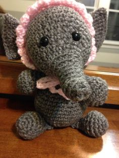Sweet Baby Elephant With Bonnet Stuffy by CourtneysCrochets, $25.00