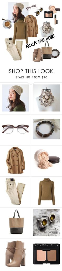 """""""Rock the Vote"""" by apple-named-doris ❤ liked on Polyvore featuring Uniqlo, Laura Mercier, True Religion, Vanessa Bruno, Burberry, NARS Cosmetics, Too Faced Cosmetics and rockthevote"""