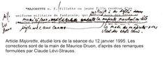 Correction à la main de Maurice Druon sur une proposition de Lévi-Strauss.