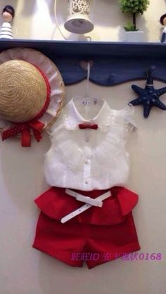 Cheap fashion kids clothes, Buy Quality kids clothes directly from China kids clothes fashion Suppliers: children's clothing hot-selling fashion girls baby set Girl lace white blouses+ red shorts clothing set kids clothes Fashion Kids, Baby Girl Fashion, Fashion 2015, New Baby Girls, Summer Girls, Summer Set, 2017 Summer, Kids Girls, Baby Kids Clothes
