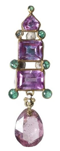 Sapphire, spinel and emerald earring or pendant, late 16th to early 17th century. An enamelled gold earring or pendant set with three pink sapphires and seven small round emeralds. A pale-pink briollete spinel hangs below. The reverse is enamelled white and black. Part of the Cheapside Hoard.